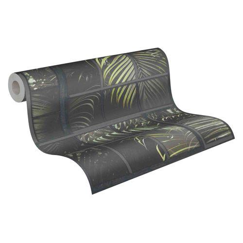 Tapete Vlies 37740-3 Gitter Floral schwarz grün