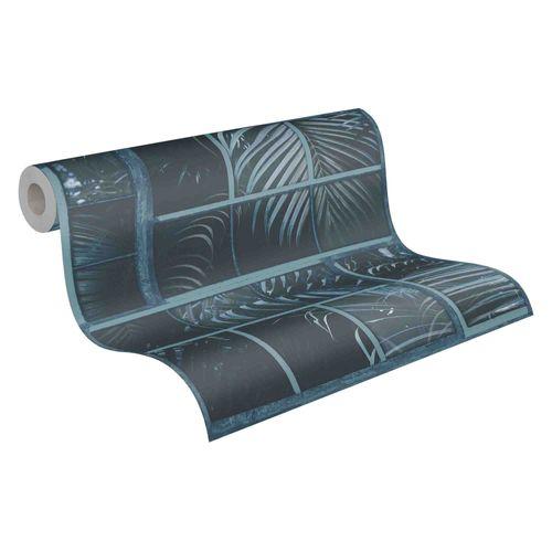 Tapete Vlies 37740-4 Gitter Floral schwarz blau