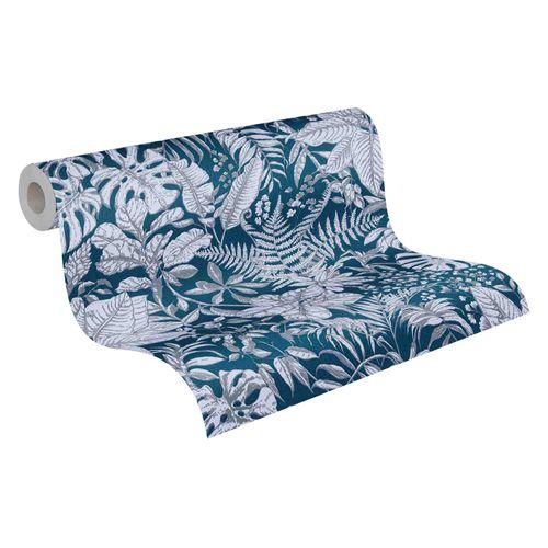 Tapete Vlies 37520-6 Dschungel blau weiß grau