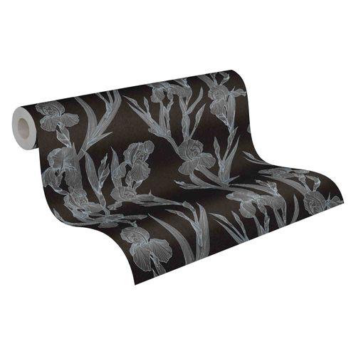 Tapete Vlies 37526-2 Floral schwarz grau