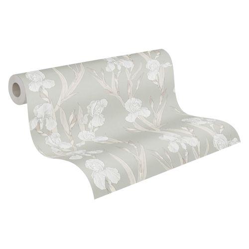 Tapete Vlies 37526-4 Floral greige weiß