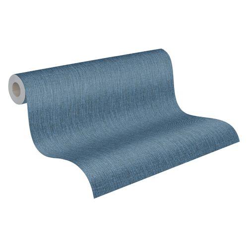 Tapete Vlies 37952-1 texturiert Einfarbig blau schwarz