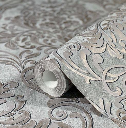 Tapete Vlies Barock Metallic grau gold 32605