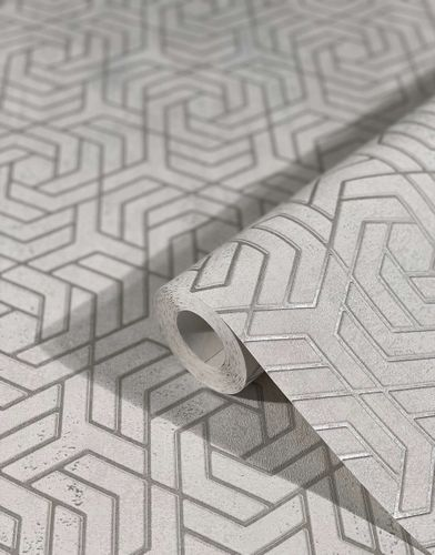 Tapete Vlies 3D Labyrinth Metallic grau silber 32607