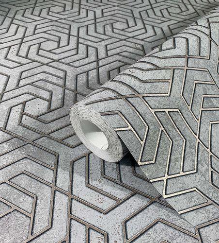 Tapete Vlies 3D Labyrinth Metallic grau gold 32610