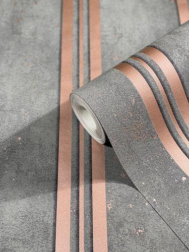 Tapete Vlies Gestreift Metallic Glitzer grau rosa 32637