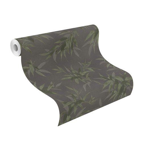 Tapete Vlies Rasch Floral Bambus schwarz grün 409772
