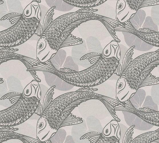 Tapete Vlies Koi Blätter grau silber Metallic 37859-1
