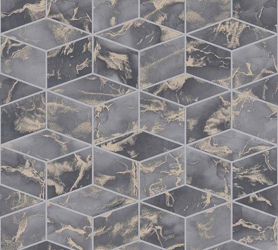 Tapete Vlies 3D Quadrate dunkelgrau Metallic 37863-3