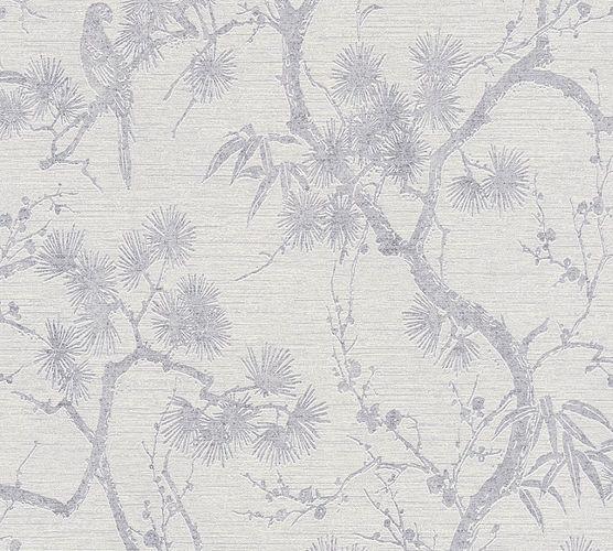 Non-Woven Wallpaper Trees Floral grey Metallic 37867-3