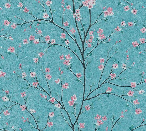 Tapete Vlies Floral Blumen Baum blau rosa Glanz 37912-3