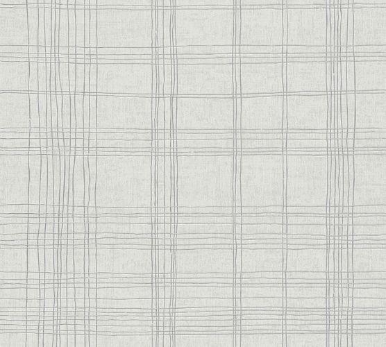 Tapete Vlies Kariert weiß-beige silber Metallic 37919-1