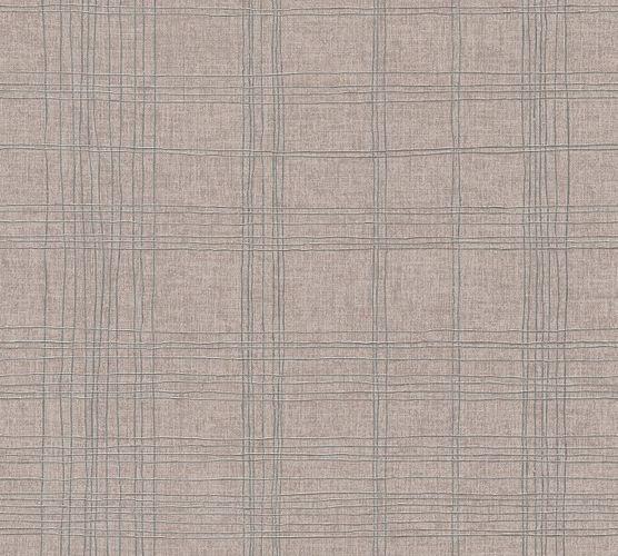Tapete Vlies Kariert braun-beige silber Metallic 37919-2