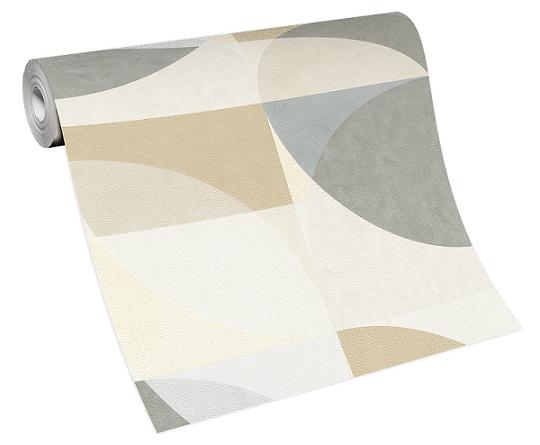 Tapete Vlies Elle Grafik Kreise beige grau 10150-02