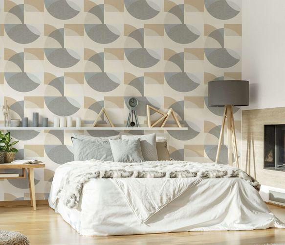 Non-Woven Wallpaper Elle Circle beige grey 10150-02