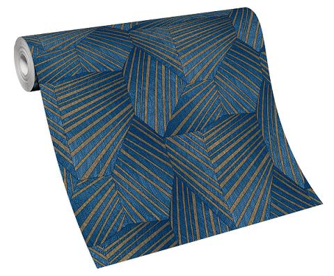 Tapete Vlies Elle Dreiecke 3D blau gold Glanz 10152-08