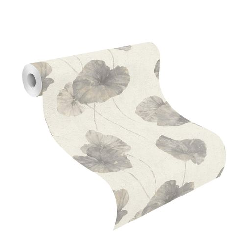 Tapete Vlies Rasch Seerose Floral grau weiß 458213