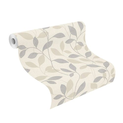 Tapete Vlies Rasch Blätter Floral grau beige Glanz 639827