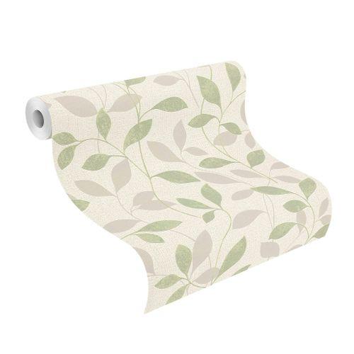Tapete Vlies Rasch Blätter Floral grün grau Glanz 639834