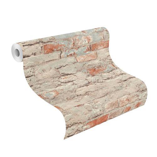 Tapete Vlies Rasch Stein Wand blau-grau braun 649420