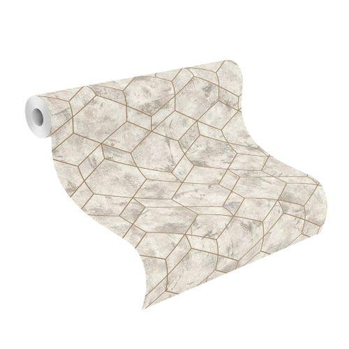 Tapete Vlies Rasch Vintage 3D Cubes grau Metallic 649642