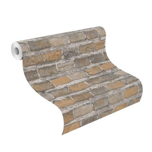 Tapete Vlies Rasch Stein Wand grau braun beige 428056