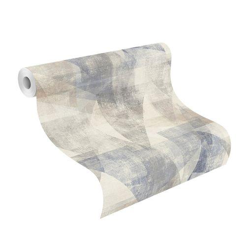 Tapete Vlies Rasch Patchwork Dreiecke blau grau 617955