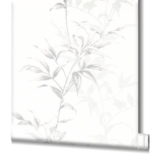 Tapete Vlies Floral Sträucher weiß grau Novamur 82221