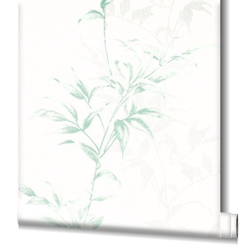 Tapete Vlies Floral Sträucher weiß grün Novamur 82222