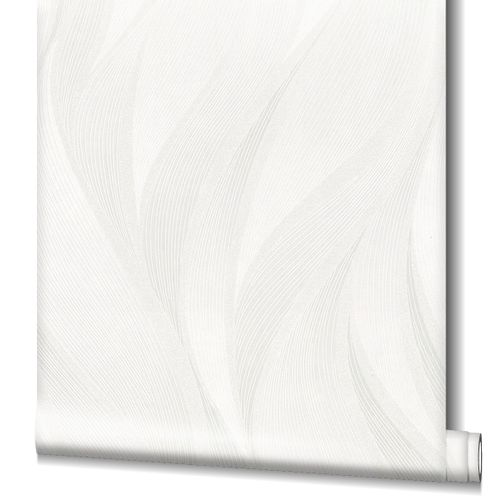 Non-Woven Wallpaper Graphic Waves beige Gloss 82231