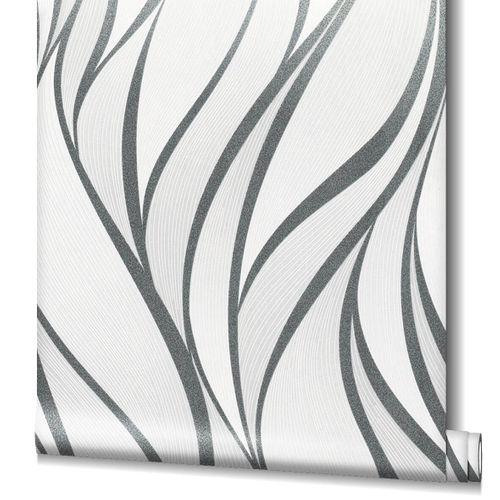 Non-Woven Wallpaper Graphic Waves black Gloss 82232