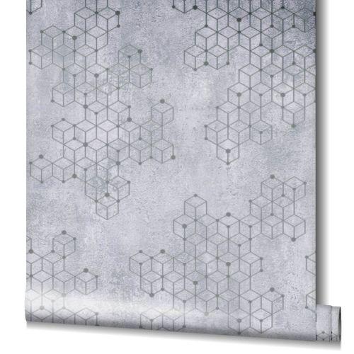Tapete Vlies Würfel Putz grau silber Glanz Novamur 82241