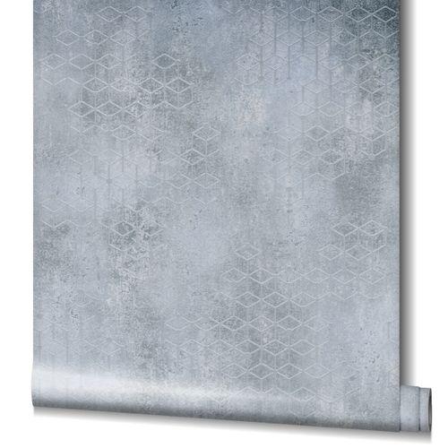 Non-Woven Wallpaper Cubes Plaster dark grey Gloss 82242