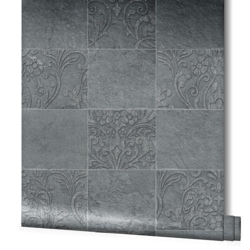 Non-Woven Wallpaper Kachlen Ornament anthracite 82252