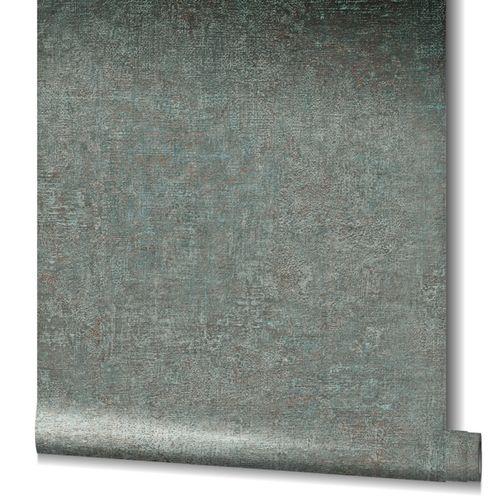 Tapete Vlies Uni Struktur Patina Metallic grün 32827