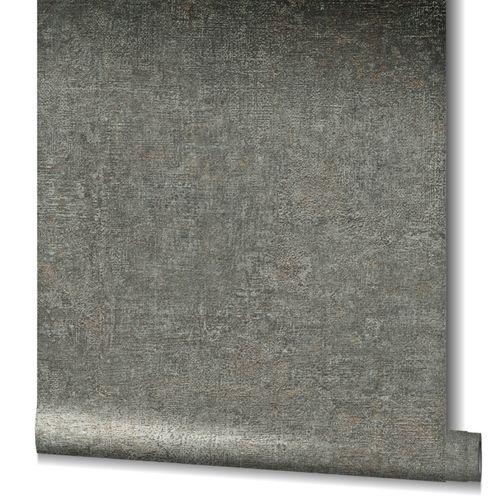 Non-Woven Wallpaper Plain Structure Metallic black 32828