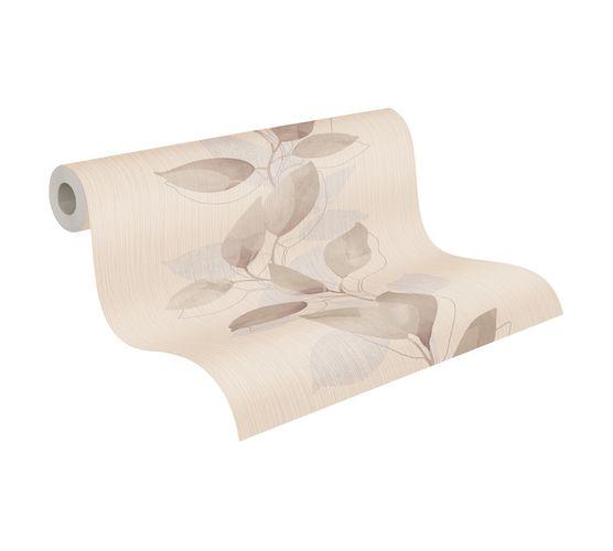 Tapete Vlies Ranke Blätter braun beige grau Glanz 37815-2