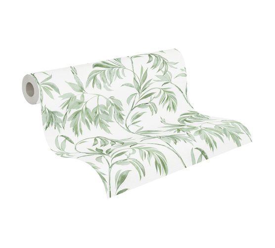 Tapete Vlies Blätter Floral weiß grün Attractive 37830-1