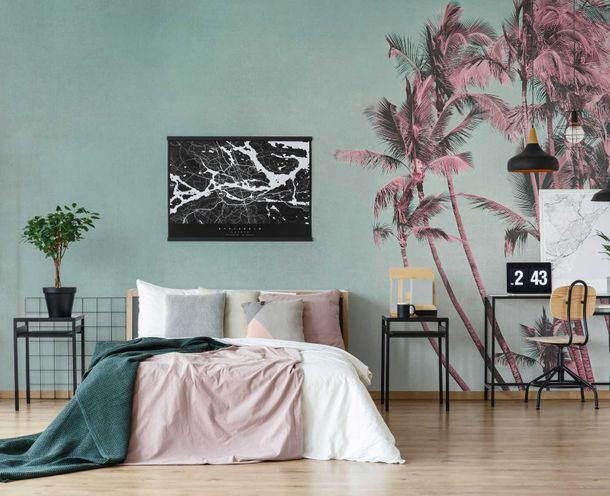 Fototapete Premium Vlies Tropisch Palmen rosa blau