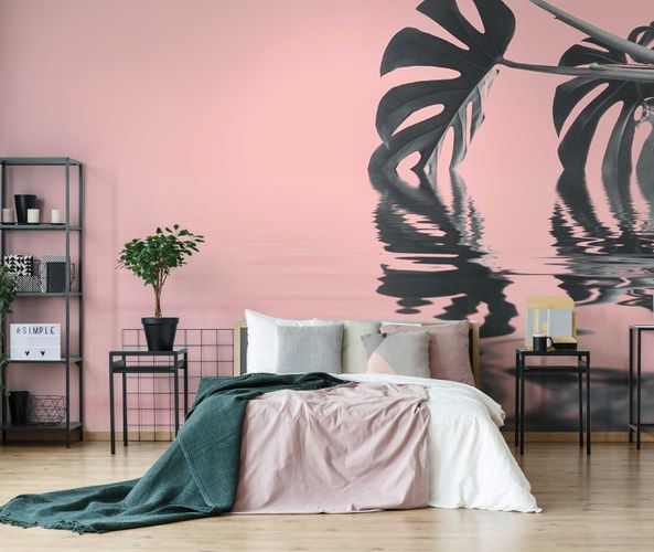 Fototapete Premium Vlies Wasser Fenster-Blatt rosa grün