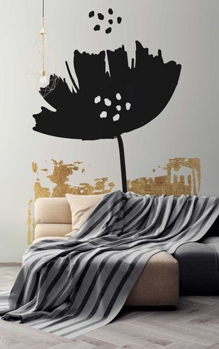 Fototapete Premium Vlies Natur Mohn Blume schwarz gold