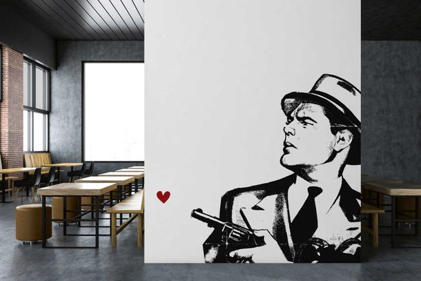 Photo Wallpaper Non-Woven Pistol Man Heart black white
