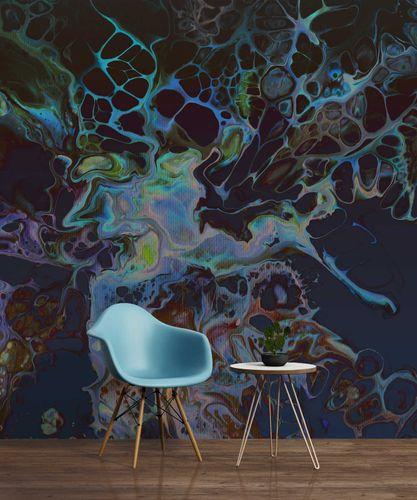 Fototapete Premium Vlies Abstrakt Koralle blau schwarz