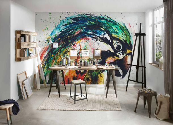Photo Wallpaper Non-Woven Abstract Parrots colourful grey