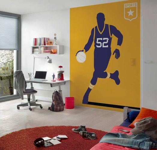 Photo Wallpaper Non-Woven Retro Basketball yellow purple