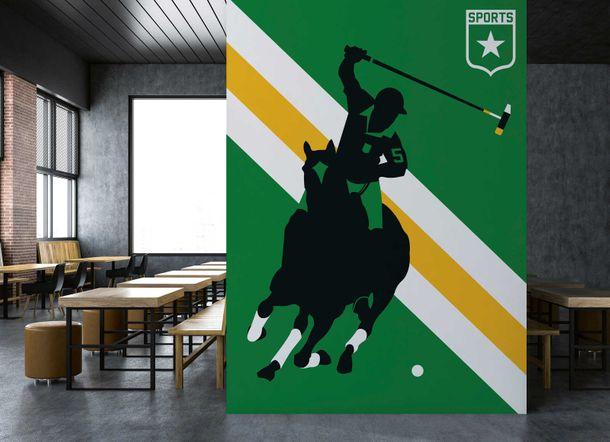 Photo Wallpaper Non-Woven Retro Horse Polo green yellow