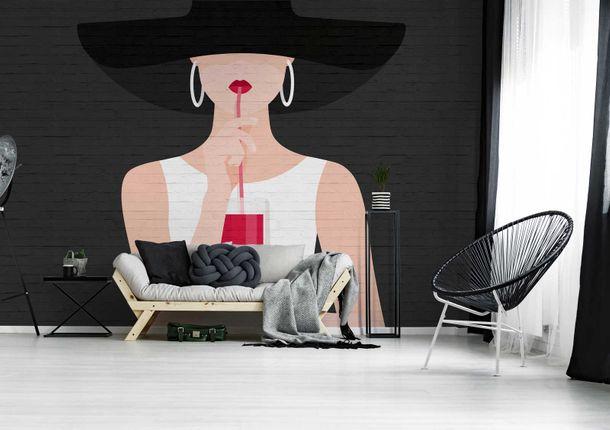 Photo Wallpaper Non-Woven Drink Women Hat black red