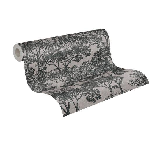 Tapete Vlies Natur Bäume grau schwarz 38023-3