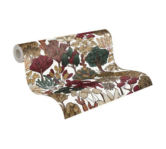 Tapete Vlies Palmen Floral weiß braun rot 37757-7