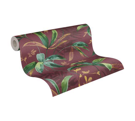 Tapete Vlies Blätter Dschungel rot grün 37704-3